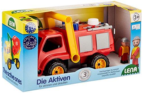 Lena 04355 - Aktive Feuerwehr mit Spielfigur, Wassertank und Spritzfunktion ca. 26 cm