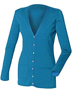 Henbury Ladies Lightweight V Cardigan, Chaqueta para Mujer