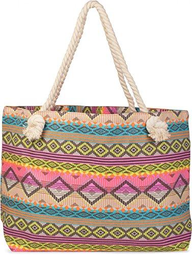 styleBREAKER Strandtasche XL im Ethno Style mit Rauten und Streifen Muster All Over Print, Schultertasche, Shopper, Damen 02012086, Farbe:Türkis-Gelb-Pink-Orange-Beige Türkis-Gelb-Pink-Orange-Beige