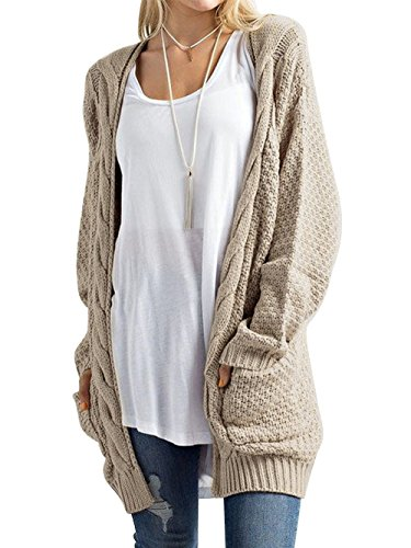 HENCY Femme Pull Manche Longue Cardigan en Tricot Casual Sweaters Poches Pull Veste sans Bouton, Kaki, S