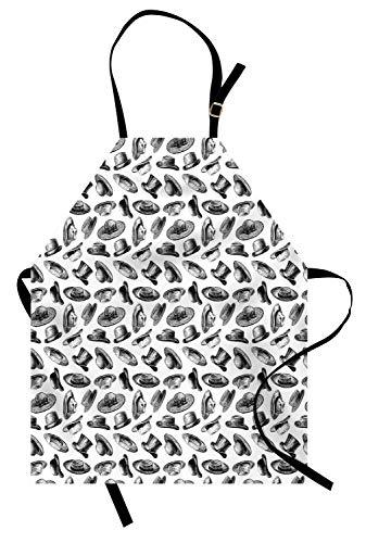 ABAKUHAUS Herren Kochschürze, Sketch Style Zusammensetzung der Hüte Top Hut Fedora Twenties Mens Fashion Pattern, Farbfest Höhenverstellbar Waschbar Klarer Digitaldruck, Weiß und Schwarz