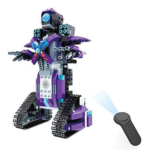 H.eternal Roboter Spielzeug Interaktive Spielzeug Gehen Smart RC Roboter Fernbedienung Elektronisches DIY Building Blocks Spielzeug für Kinder, Jungen, Mädchen Entertainment (Blau)