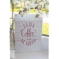TRINKE KAFFEE und sei FRÖHLICH Inspirierende Zitat Tafel, wanddekoration – Wohndekor, Wandtafel, hängendes Holzschild