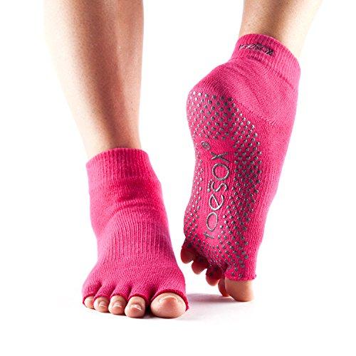 Calcetines ToeSox con media puntera en el tobillo para calcetines de yoga, pilates y barre fitness (Fuchsia, Small)