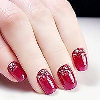 Jovono Full false nail tips vino rosso champagne paillettes unghie finte  per nozze, senza colla
