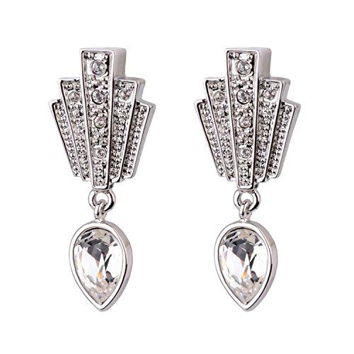 Cristalina Gatsby Art Deco Fan Drop Swarovski Kristall Ohrringe 3,5cm lang