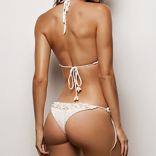 SUNNOW® Damen Bikini Sets mit Quaste Strick Häkeln Muschel Badeanzug Schwimmanzug Bra Bademode Strand Bikini Oberteil + Höschen Weiß