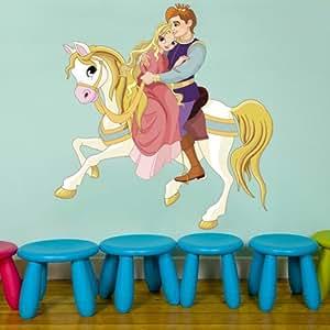 GS33 - Le prince et la princesse sur un cheval blanc. Les grands autocollants muraux amovibles