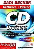 CD-Druckerei, m. Papier, CD-ROM Ideal für die Gestaltung und Beschriftung von CD/DVD-Etiketten und Einlegern. Für Windows 98/98SE/ME/NT4(SP6)/2000/XP. Inkl. 20 CD-Etiketten mit integrierter PerfectCD-Zentrierhilfe und 20 CD-Einlegern -
