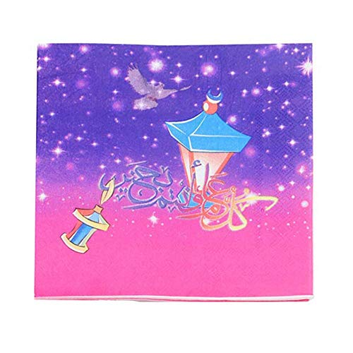 Dinner Napkins, Ramadan Napkin Color Printed Facial Tissue Moon Magic Lamp Muslim Festival Party Supplies Decoration,Theme Party Supplies ()