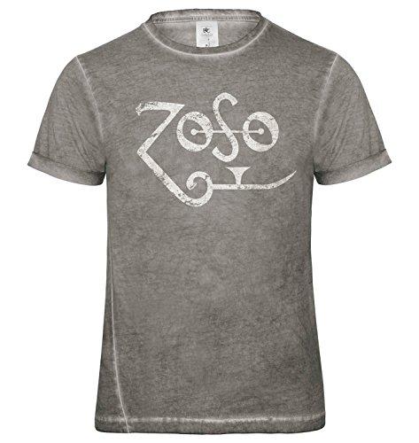 LaMAGLIERIA Herren T-Shirt Vintage Look Zoso White Logo Grunge Print Cod. Grpr0120 - Männer Vintage DNM Plug-in T-Shirt mit Rock Vorderdruck, Small, Grey Clash (Shirt Zoso)