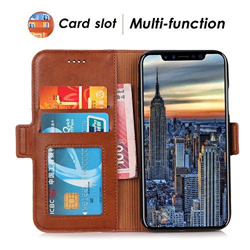 iPhone X Tasche Leder iPhone X PU Ledertasche mit Kartenfach für Original Apple aus Echtleder Hülle Case Lederhülle Automatic Schlaf und Aufwachen Handyhülle Schwarz Grau
