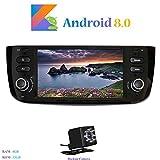 Hi-azul Android 8.0 Autoradio 1 Din In-dash 6,2 Pollici Car Stereo Octa-Core 64Bit RAM 4G ROM 32G Car Radio con Touch Screen per Fiat Grande Punto/ Fiat Linea (con Telecamera Posteriore)