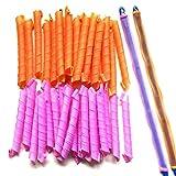 Lockenwickler über Nacht für kurze und lange Haare für Damen in Orange und Pink (55 cm,40 Stück)