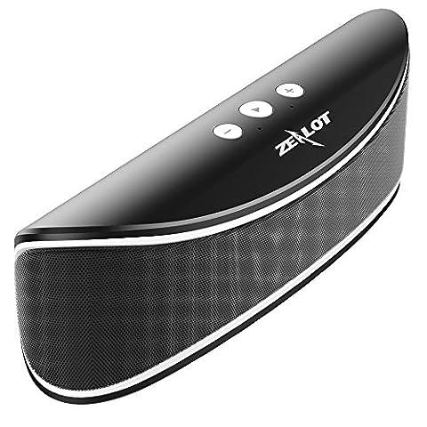 Bluetooth Haut-parleur Zealot S2 Sans Fil Portable 6W Boublé-Pilotes Stéréo Basse Dynamique avec Batterie 4000MA pour15h Musique Voyage Lecture La Carte Mémoire FM Micro Intégré et 3.5MMAUX-IN Adapté Toutes Sorte de Ordinateur et Téléphone -