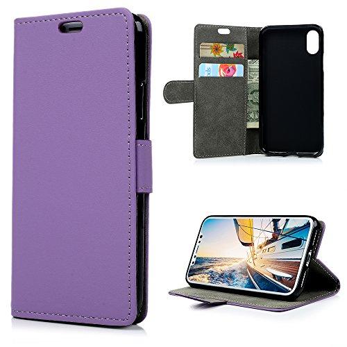 MAXFE.CO Schutzhülle Tasche Case für iPhone X PU Leder Flip Tasche Cover Einfarbig im Ständer Book Case / Kartenfach Rot Purple