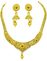 Surat Diamonds Traditional Designer Shaped Colored Stone And Gold Plated Necklace & Earring Fashion Jewellery...