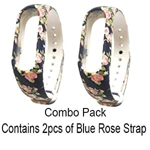 Crysendo Pack of 2 Straps (Choose Any 2 Designs as per Your Choice) for Xiaomi Mi Band 3 & Mi 4 (Blue Rose Strap)