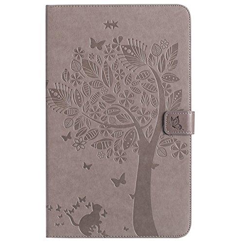 Custodia Galaxy Tab A 10.1, Galaxy Tab A 10.1 Flip Case Leather, SainCat Custodia in Pelle Cover per Samsung Galaxy Tab A 10.1 T580/T585, Anti-Scratch Book Style Protettiva Caso PU Leather Flip Portaf Grigio
