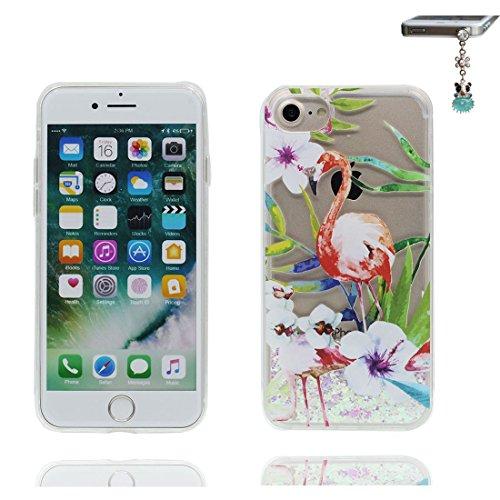 """iPhone 7 Coque, Skin Hard Clear étui iPhone 7, Design Glitter Bling Sparkles Shinny Flowing Apple iPhone 7 Case Cover 4.7"""", (Grand Flamant) résistant aux chocs et Bouchon anti-poussière # 6"""