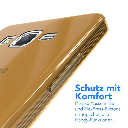 Samsung Galaxy Grand Prime Hülle - EAZY CASE Ultra Slim Cover Handyhülle - dünne Schutzhülle aus Silikon in Transparent Clear Gold
