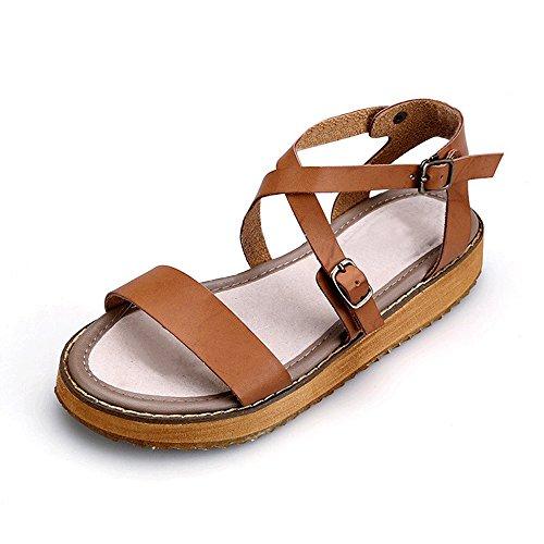 OCHENTA Damen Sandalen Peep-Toe Rund Flach Einfach Plattformhohe-1,5cm Absatzhohe-2,5cm Schnalle Romanisch Braun Asiatisch 39/EU 38,5 (Frauen Brown Sandalen Flache)
