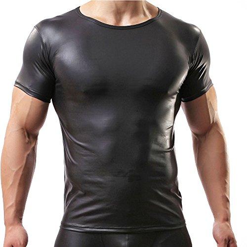 YiZYiF Männer Muskel Shirt Wetlook Herren Reizwäsche T-Shirt Tights Unterhemd Fitness Slim, Schwarz, Medium