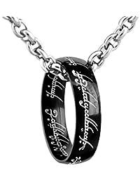 El Señor de los Anillos - negro - acero inoxidable - cadena de acero de 60 cm