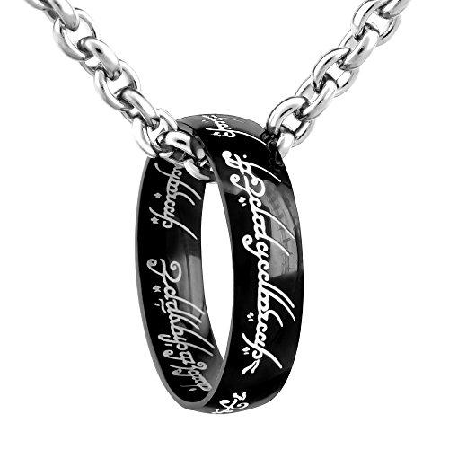 L'anello del potere nero – Signore degli anelli – d'acciaio inox – catenina d'acciaio 60 cm (26)