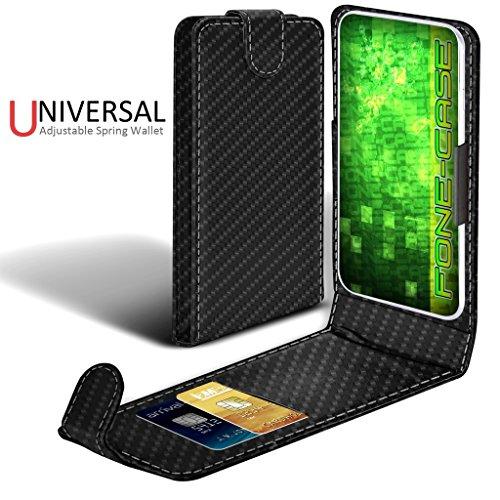 Fone-Case (Vert) Apple Iphone Pro Case style Clamp flip protection PU Housse en cuir Carbon Fibre Universal Clamp Flip