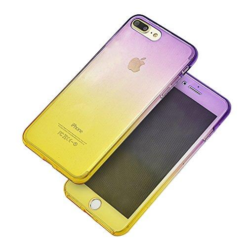Coque Full Protecion iPhone 7 Plus 360° INTEGRAL Silicone Transparent Etui TPU Gel Souple Intégral Avant Arrière Protecteur Anti-Choc Housse Sunroyal® Ultra Mince Case Cover de Bumper Invisible pour i Full Coque -06
