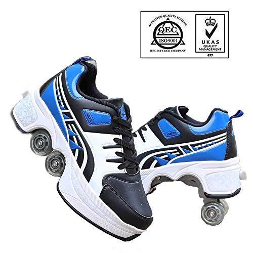WERTYUH Inline-Skate, 2-in-1-Mehrzweckschuhe, Verstellbare Quad-Rollschuh-Stiefel Roller Skates,Blueblack-38