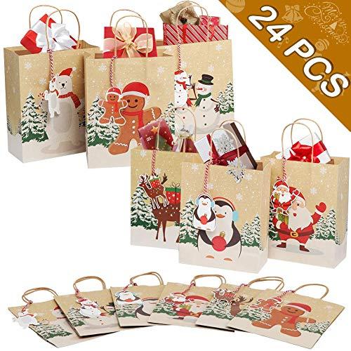 OurWarm 24 pezzi Sacchetti regalo di Natale Sacchetti per feste di Natale Scatole di carta per caramelle per forniture per decorazioni natalizie
