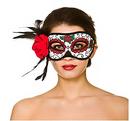 Ideen Outfit Party Masquerade (Deluxe Day Of The Dead Adult Halloween Masquerade Glitter Eyemask With Flower Fancy Dress)