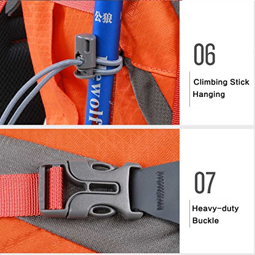 Hewolf 50L (45L + 5L) Outdoor Rucksack Klettern Jagd Tactical Camping Trekking Reise Bergsteigen Tagesrucksack wasserabweisend Tasche mit Regen Cover Orange