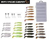 Savage Gear Fat Minnow T-Tail Kit 30 Gummifische +6 Jighaken, Gummiköder, Angelset, Jigköpfe,...