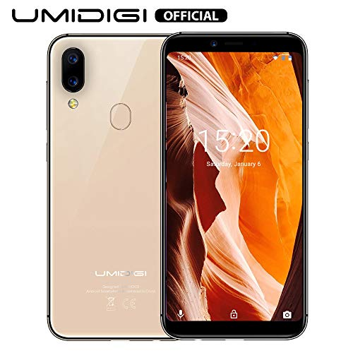 UMIDIGI A3 (2019) Android 9 Smartphone ohne Vertrag günstig, Handy mit 5.5 Zoll Display, 256GB erweiterbar, 16GB ROM, Benachrichtigung LED, 5G WiFi, Dual SIM, Triple Slot, Kamera(12+5+8 MP) - Gold