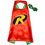 Robin Batman Superhelden-Kostüme für Kinder - Cape und Maske - mit Spiderman, Frozen Elsa, Batman, Superman -Logo - Spielsachen für Jungen und Mädchen - Kostüm für Kinder von 3 bis 10 Jahre - für Karneval, Fasching oder Motto-Partys! - King Mungo - KMSC007