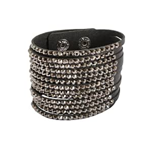 Bedazzled Stylish Black Cut Leather Studded Cuff Fashion Bracelet - In Gift Bag