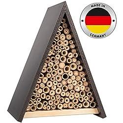 Gardigo Abri et Ruche pour Abeilles Solitaires en Bois Naturel Hôtel Maison, Nichoir Abeilles Maçonnes Sauvages Pollinisation Jardin, Made in Germany