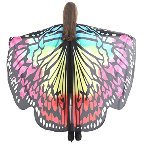 Huhu833 Schmetterling Kostüm, Damen Schmetterling Flügel Umhang Schal Poncho Kostüm Zubehör für Show/Daily/Party (Gelb 2, 168 * 135CM) (Gelbe Kostüm Flügel)