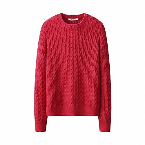 d gestrickte Kleider Herbst und Winter aus reiner Baumwolle Langarm T-Shirt mit rundem Halsausschnitt lose Strickwaren, M, rot (Hässliche Pullover-kit)