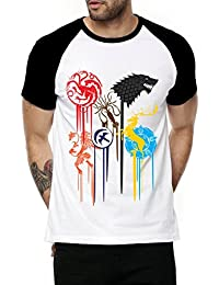 Fanideaz Cotton Fancy Fan Art Game Of Throne Flags Half Sleeve Raglan T Shirt For Men