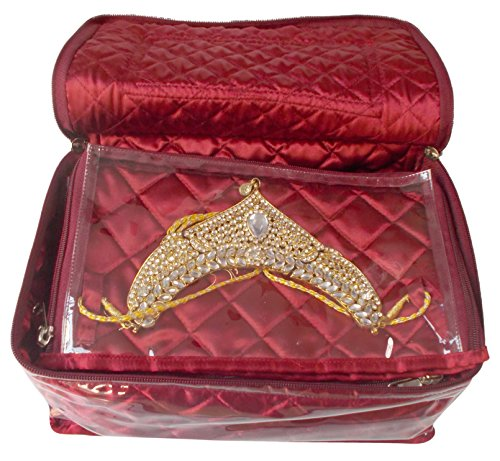 Glitter Collection Vanity Box for Keeping Jewellery with 11 Zipped Pouches JWLMLT