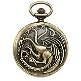 Treeweto orologio da uomo con ciondolo a forma di orologio da tasca Hydreigon drago bronzo quarzo box