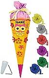 Unbekannt BASTELSET Schultüte -  lustige Eule & Blumen  - 85 cm - incl. Schleife + Name - mit / ohne Kunststoff Spitze - Zuckertüte - Set zum selber Basteln - 6 eckig..