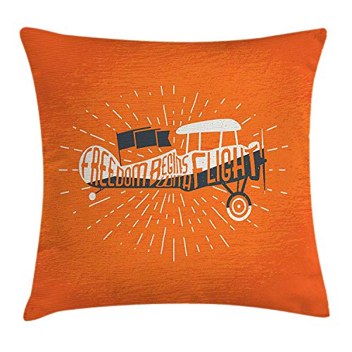 Jolly2T Vintage Decor Throw Pillow Cushion Cover by, Freedom Phrase with an Old Custom Airplane Sky Fly Inspiration Graphic Artwork, Decorative Square Accent Pillow Case, 18 X 18 Inches, Orange