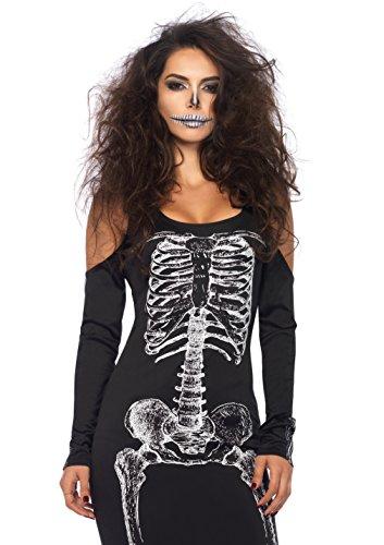 LEG AVENUE 85565 - Kalte Schulter Kleid mit Seitenschlitz mit Skelett Druck, Damen Fasching, S/M, - Skelette Kostüme