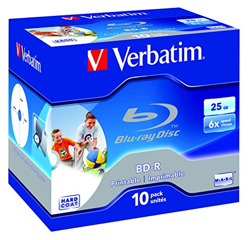 Verbatim BD-R Single Layer 25GB 6x Speed Printable Surface Scratchguard Plus, 10 Stück - Digitales Single-disc-tv
