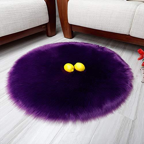 YUER Hochflor Teppich, Kunstfell, weicher Kunstfell Schaffell Shag Silky Teppich, Super Area Teppiche, Baby Nursery Kinderzimmer Teppich Elfenbein (Color : Purple, Size : 180cm) - Purple Shag Teppich